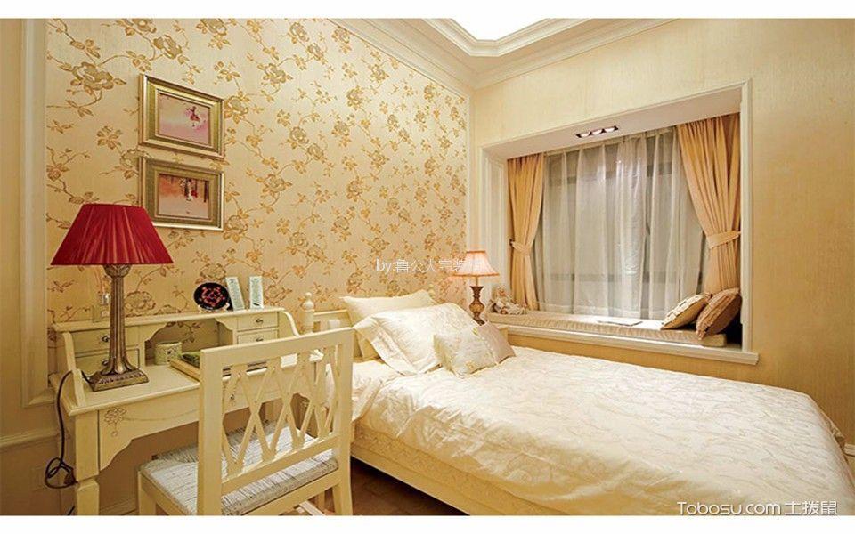 卧室黄色窗帘简约风格效果图