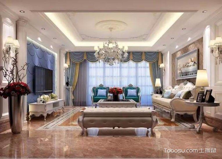 山水龙城124平欧式风格三居室装修效果图