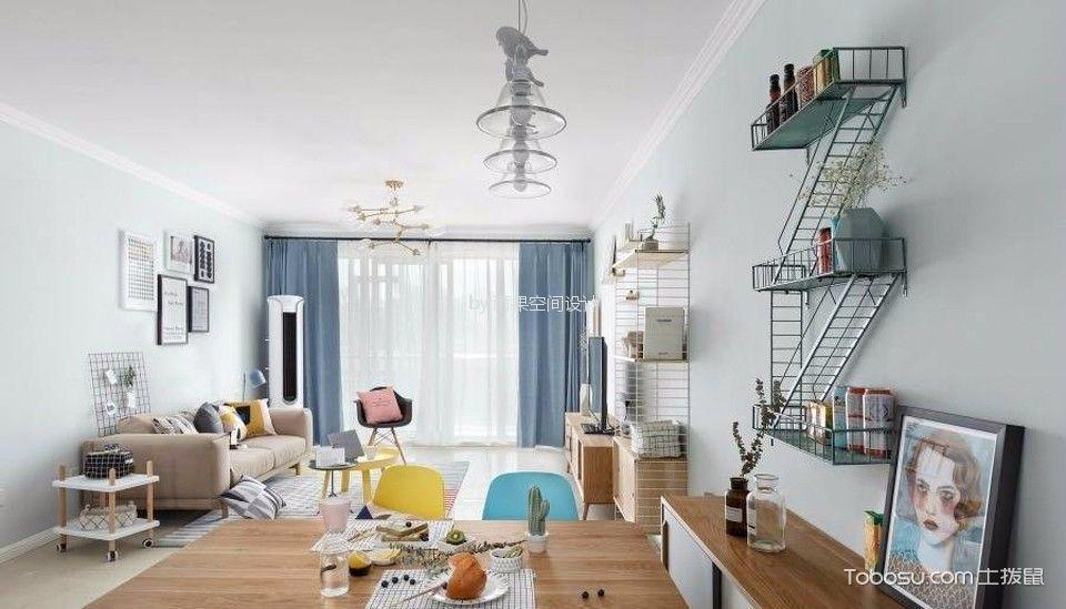 沧源路80平简约风格二居室装修效果图
