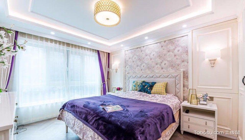 卧室 背景墙_环城南路70平美式风格一居室装修效果图