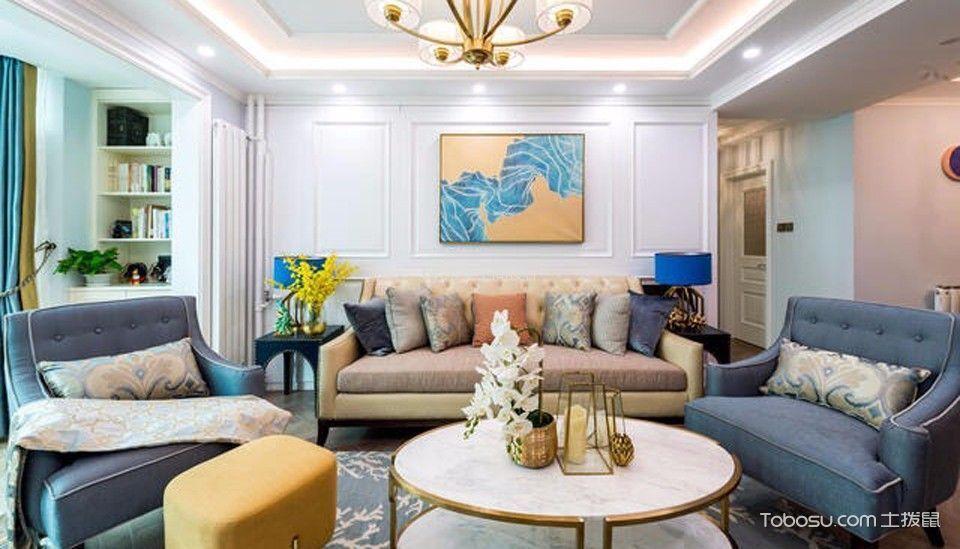 客厅白色书架美式风格装潢设计图片