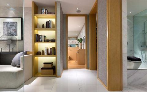 客厅橙色隐形门现代简约风格装饰效果图