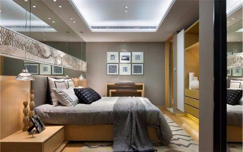 卧室蓝色背景墙现代简约风格装饰设计图片