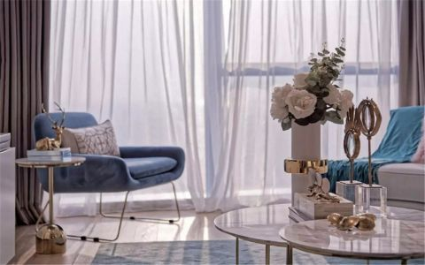 客厅白色窗帘现代简约风格装修设计图片