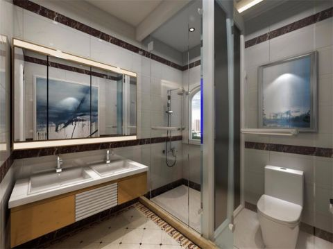 卫生间米色背景墙欧式风格装修图片