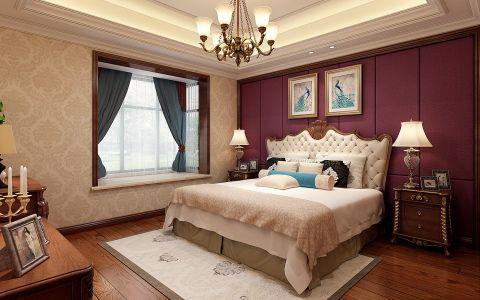 卧室红色背景墙欧式风格装潢设计图片