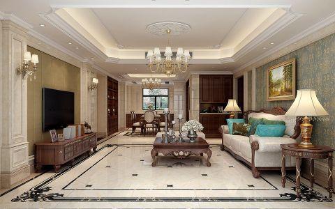 客厅绿色背景墙欧式风格装修效果图