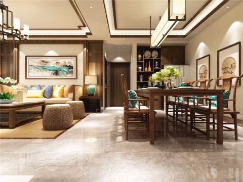 客厅走廊新中式风格装潢效果图