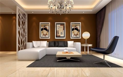 客厅白色飘窗现代简约风格装修设计图片