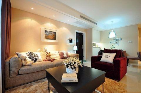 客厅白色背景墙现代简约风格装修图片