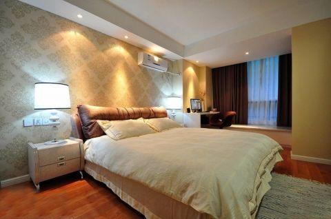 卧室米色飘窗现代简约风格装潢设计图片