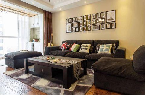 客厅彩色背景墙现代风格装潢效果图