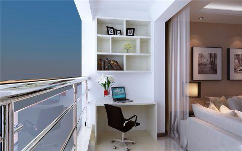 阳台白色书架现代简约风格装潢设计图片