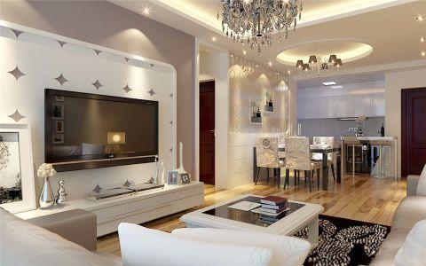 客厅白色背景墙现代简约风格装修效果图