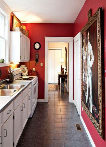 厨房白色橱柜美式风格装饰图片