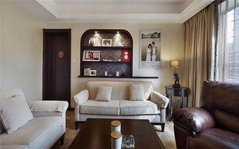 客厅米色背景墙新古典风格装潢图片