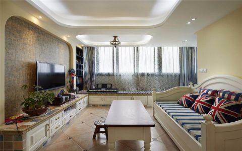 客厅米色背景墙美式风格装潢效果图