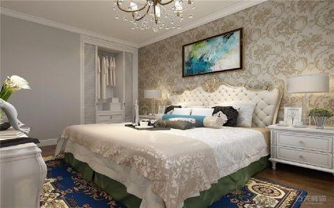 卧室米色背景墙欧式风格装修设计图片