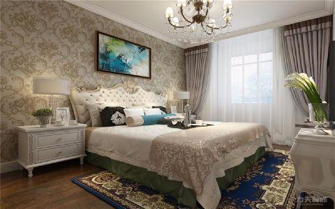卧室米色背景墙欧式风格装潢设计图片
