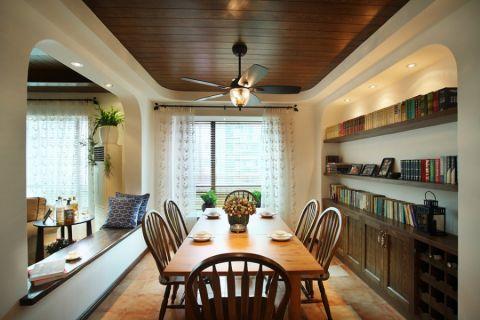 餐厅彩色书架地中海风格装潢设计图片