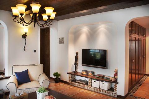 客厅彩色背景墙地中海风格装修效果图
