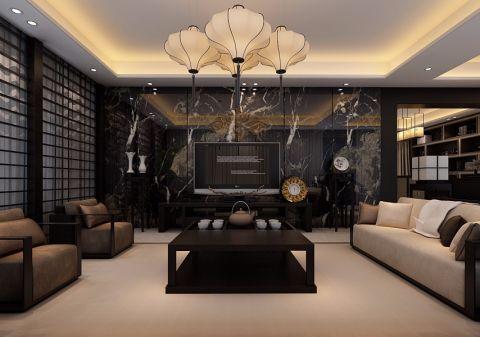 客厅黑色背景墙新中式风格装饰效果图