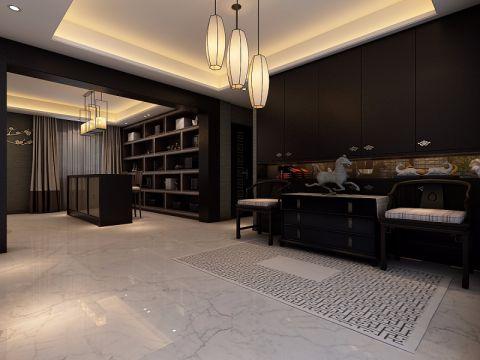 书房黑色博古架新中式风格装潢效果图