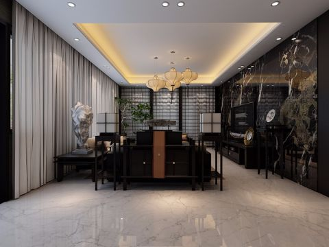 客厅黑色吊顶新中式风格装潢图片