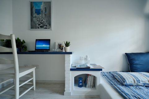 儿童房白色书桌地中海风格装饰图片