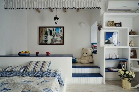 卧室蓝色窗帘地中海风格装潢图片