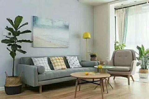 客厅蓝色照片墙现代简约风格装修设计图片