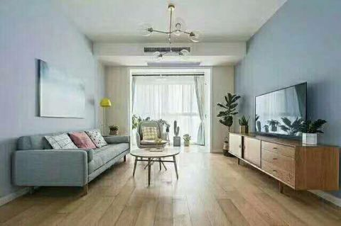 客厅蓝色走廊现代简约风格装潢设计图片