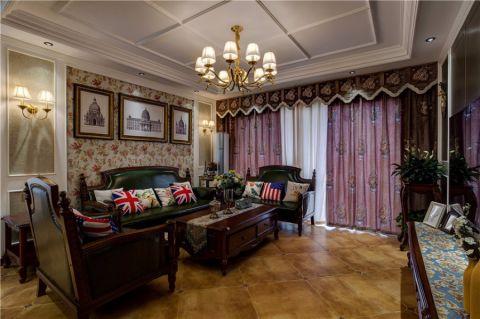 客厅紫色窗帘美式风格装饰设计图片