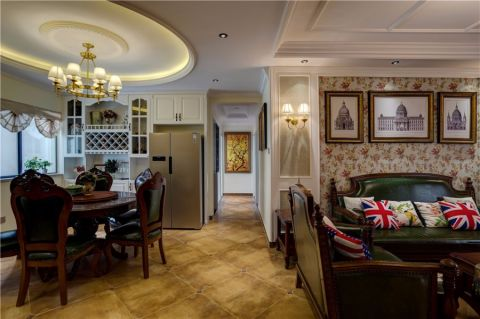 客厅白色博古架美式风格装潢设计图片