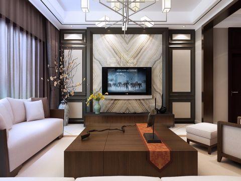客厅黑色背景墙新中式风格装修图片