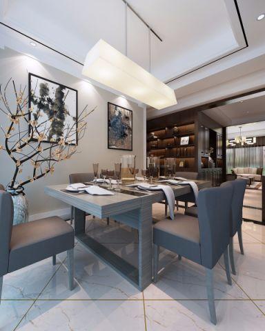 餐厅白色吊顶新中式风格装饰设计图片