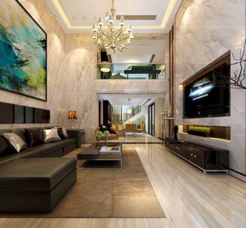 客厅阁楼现代简约风格装潢图片