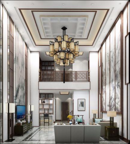 客厅米色背景墙新中式风格装饰设计图片