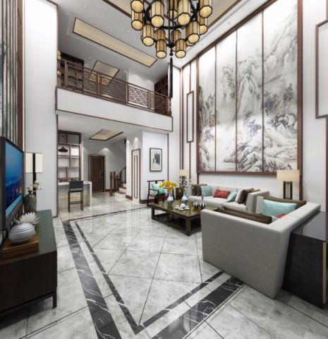 客厅米色电视柜新中式风格效果图