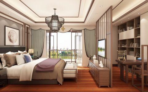 卧室推拉门新中式风格装饰效果图