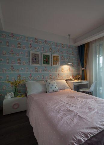 儿童房彩色背景墙混搭风格装修设计图片