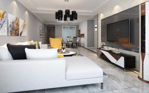客厅白色沙发现代风格装潢设计图片