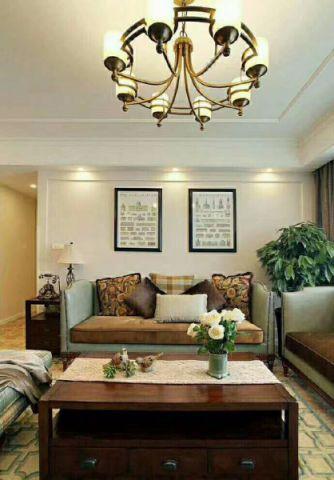 客厅红色吊顶美式风格装饰设计图片