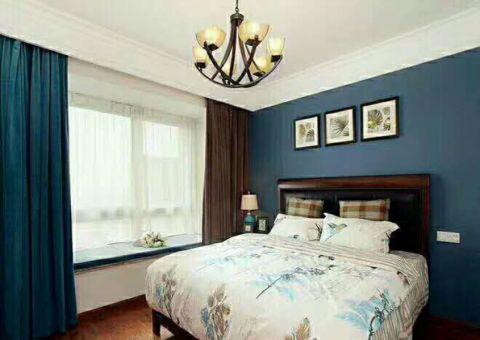卧室红色飘窗美式风格装潢设计图片