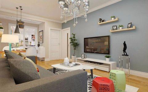 客厅灰色背景墙现代简约风格装修图片