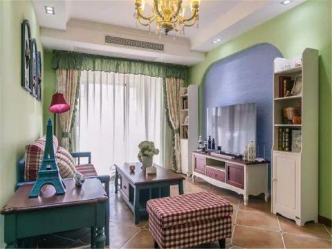 客厅绿色背景墙美式风格装潢设计图片