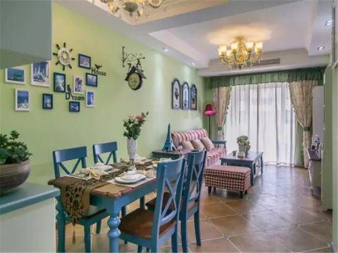 餐厅绿色照片墙美式风格效果图