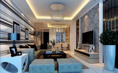 客厅白色背景墙欧式风格装潢效果图
