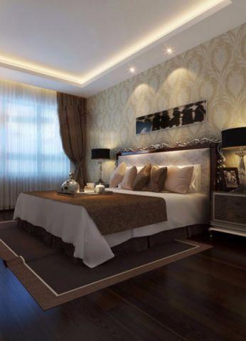 卧室米色背景墙欧式风格装饰图片