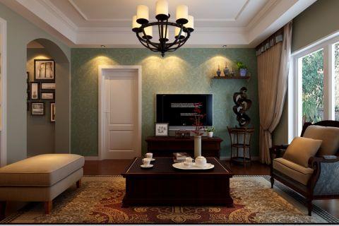 客厅灰色背景墙美式风格装修图片